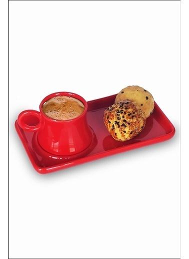 Kitchen Love Tek Kişilik Tepsili Seramik Kahve Fincanı -2Parça Kırmızı